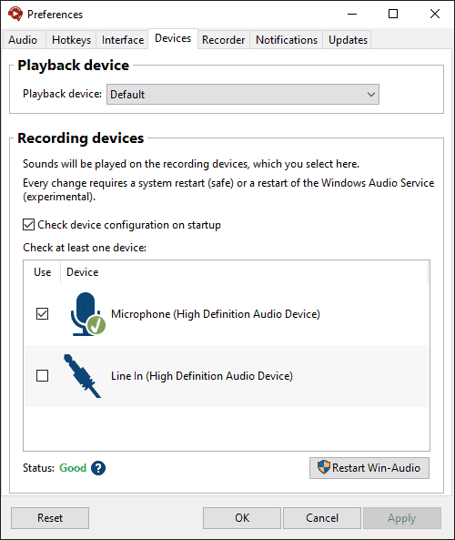 Soundpad device preferences