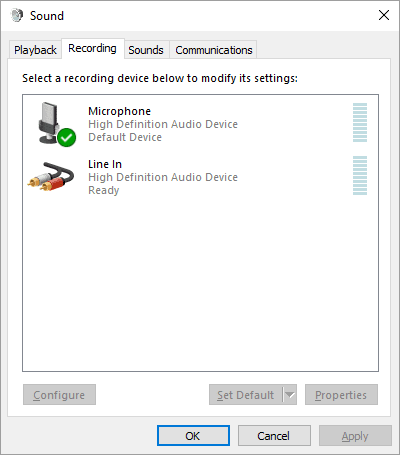 Windows recording devices